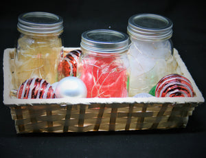 Set of Three Jars with Multi-Colored Fairy Lights in Tray Basket with Ornaments