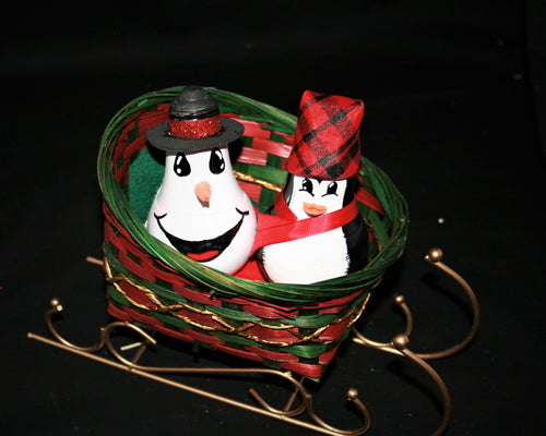 Small Sleigh Basket with Gold Rails with Penguin and Snowman