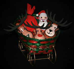Large Sleigh Basket with Gold Rails with Santa and Reindeers