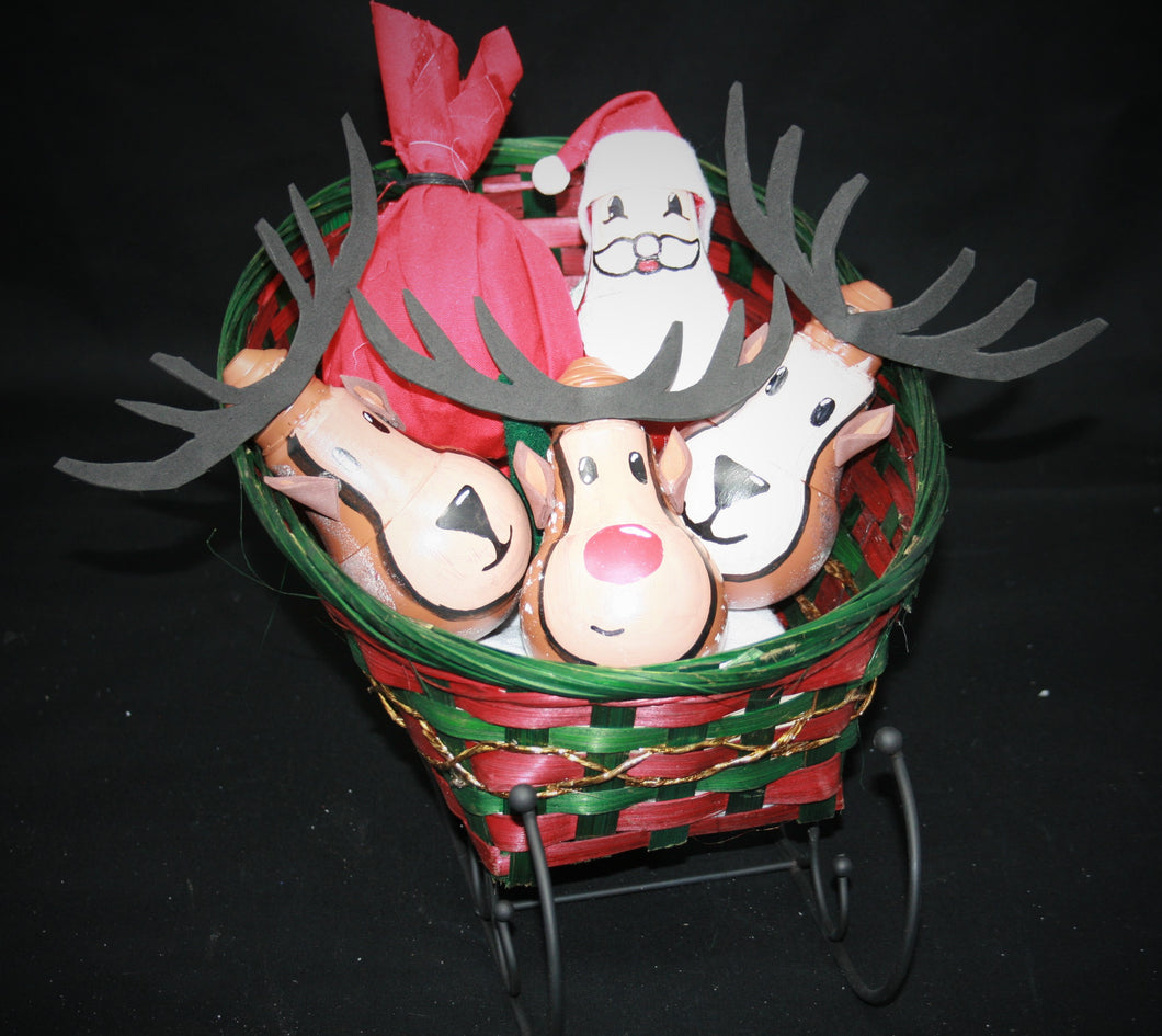 Large Sleigh Basket with Black Rails with Santa and Reindeers