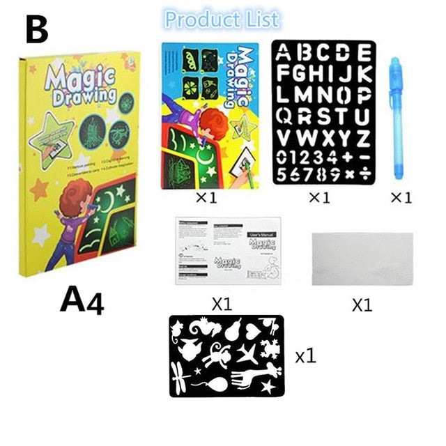 A4 LED Luminous Drawing Board Graffiti Doodle Drawing Tablet Educational Toy