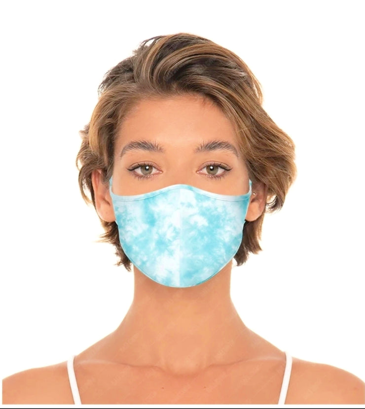 Reversible Unisex Reusable Face Mask - Tie Dye/Deep Aqua