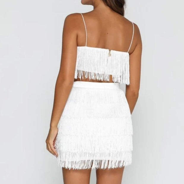 Shimmy Fringe Mini Skirt -White