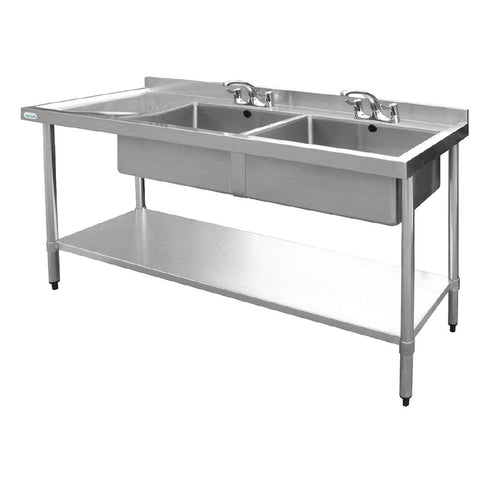 Stainless Steel Sink Double Bowl with Left Hand Drainer 1800mm