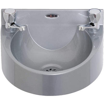 Grey Basix Polycarbonate Wash Hand Basin With Taps