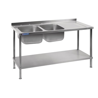 Holmes Stainless Steel Double Sink Right Hand Drainer