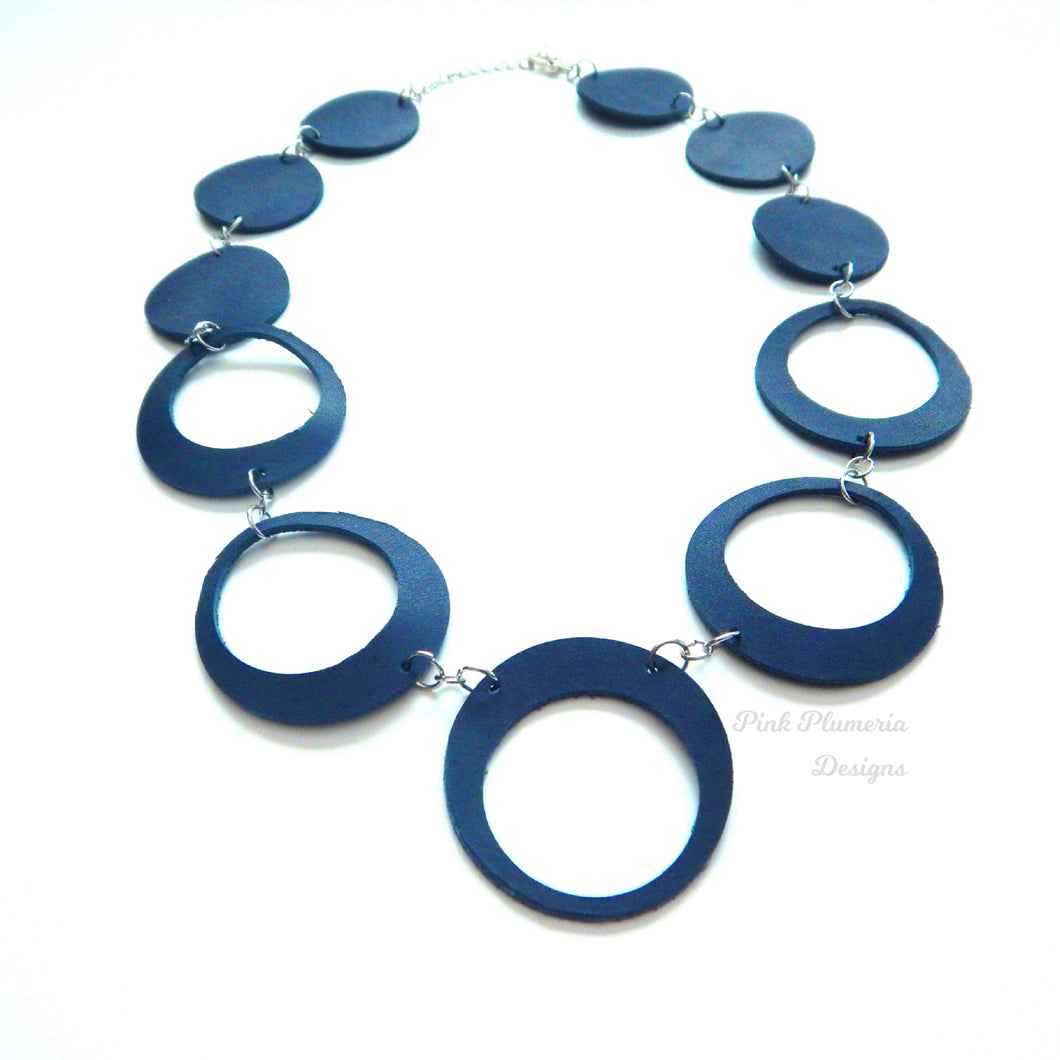 Circle Cutout Necklace - Blue