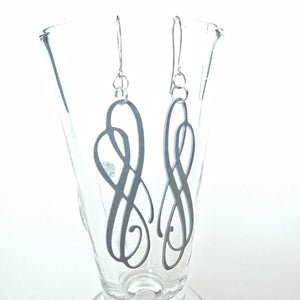 Double Line Flourish Earrings - Grey