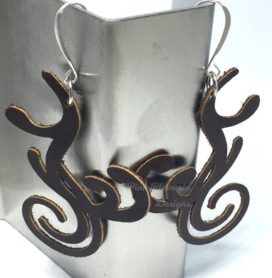 Flourish Scroll Earrings - Brown