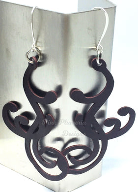 Flourish Scroll Earrings - Dark Brown