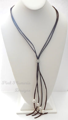 Lariat Necklace - Brown
