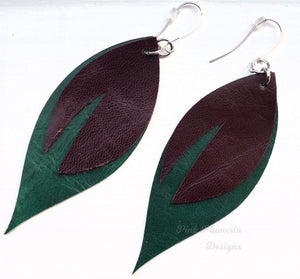 Leaf Earrings - Dark Brown/Green