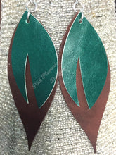 Leaf Earrings - Green/Light Brown