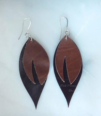 Leaf Earrings - Light Brown/Dark Brown