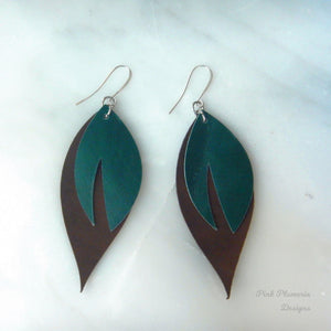 Leaf Earrings - Green/Dark Brown