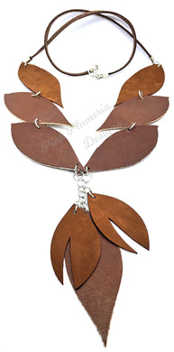 Leaf Necklace with Leaf Tassel