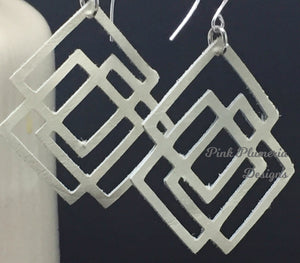 Square Geo Earrings - Cream