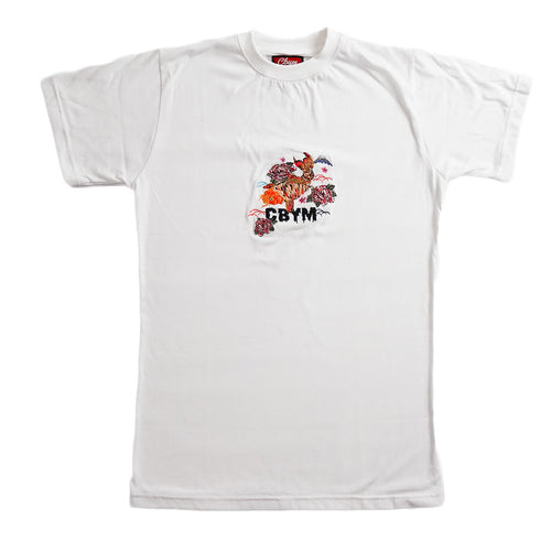 White Koi Fish Embroidered T-shirt