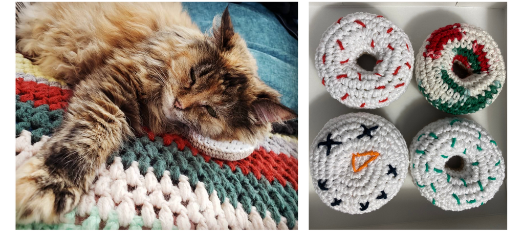 Craigs crochet cat toys with cats