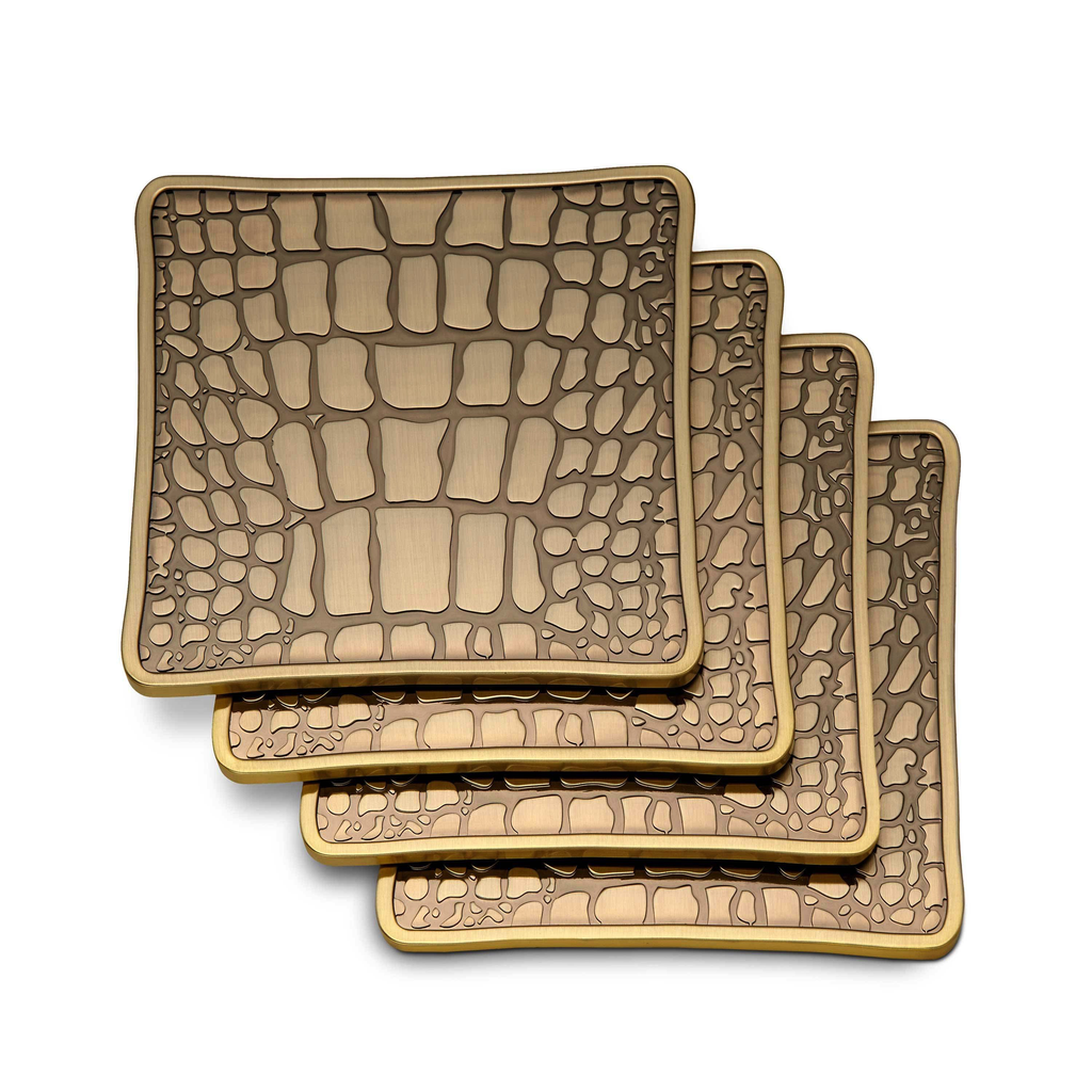 CROC BRASS COASTER SET