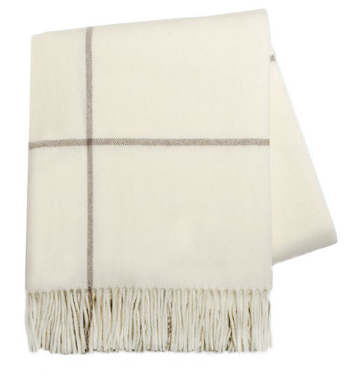 CASHMERE WINDOWPANE THROW | ECRU & TAUPE
