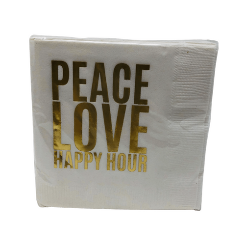 COCKTAIL NAPKIN SET | PEACE LOVE HAPPY HOUR