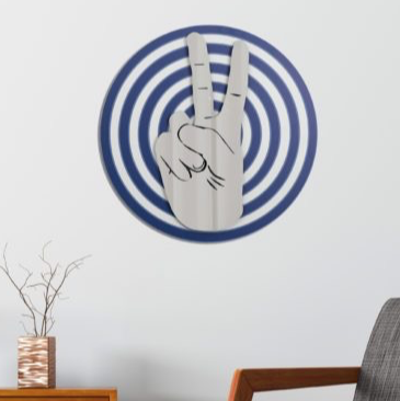 PEACE BULLSEYE ART | BLUE SILVER MIRROR
