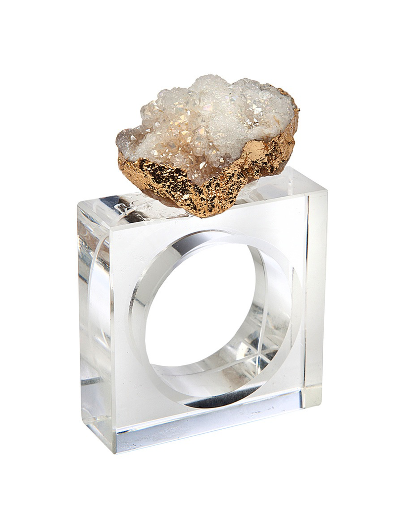 GEODE NAPKIN RING SET | WHITE & GOLD
