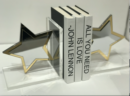 STAR BOOKENDS | SILVER & GOLD MIRROR