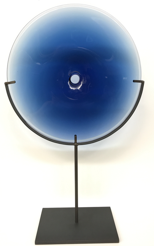 VERA GLASS DISC OBJECT | STEEL BLUE | SMALL