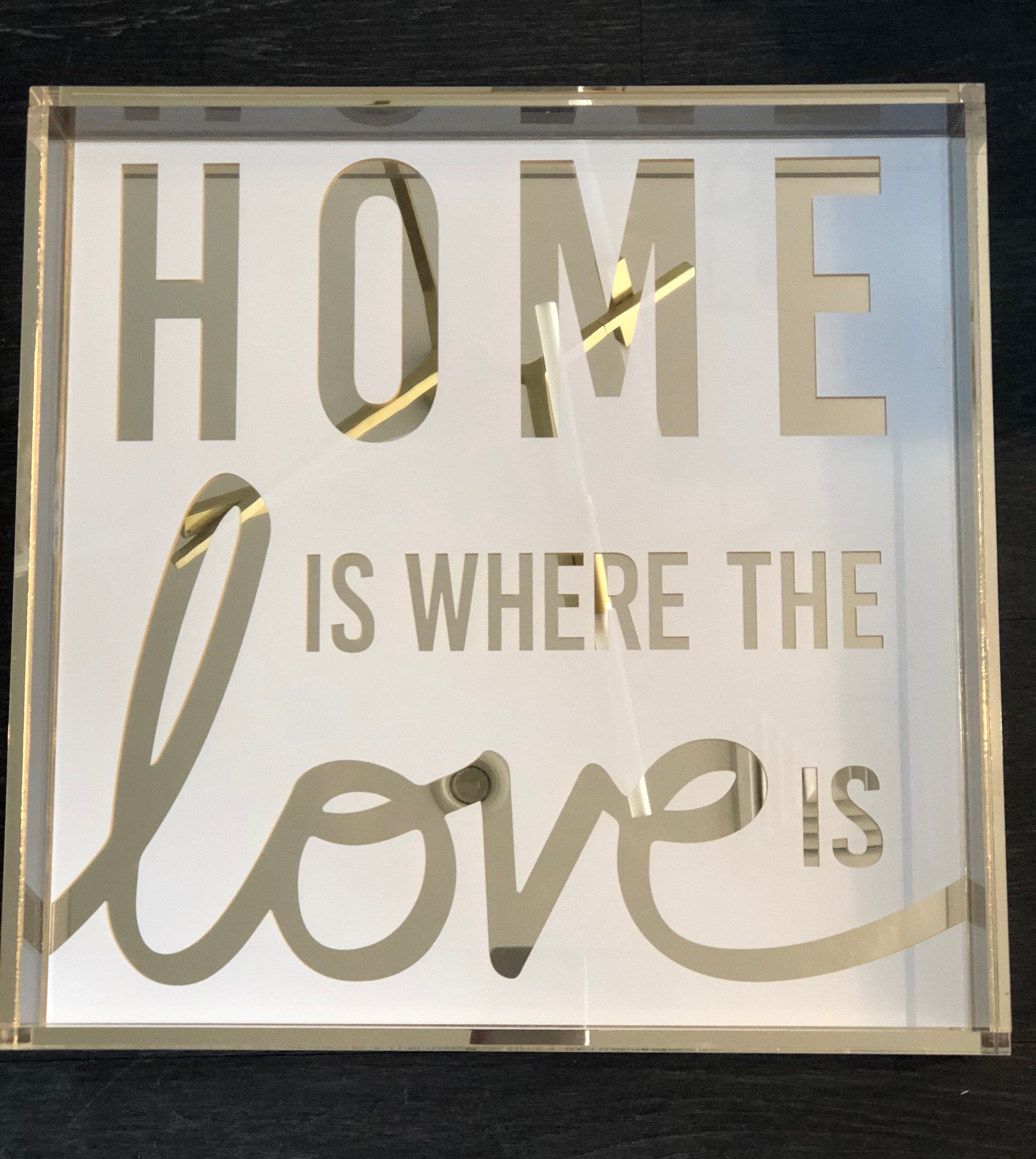 HOME IS WHERE THE LOVE IS  TRAY | SQUARE | GOLD MIRROR