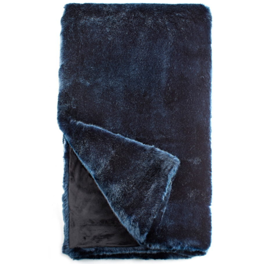 COUTURE FAUX FUR THROW | BLUE MINK