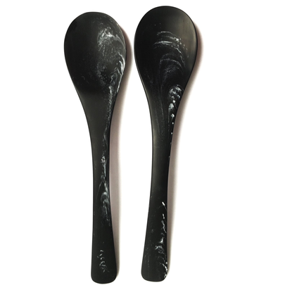 MARBLE RESIN SERVING SPOONS S/2