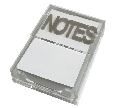 "5"" X 6.5"" X 1.5"" Silver marble ""notes"" notepad holder"