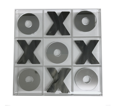 ACRYLIC TIC TAC TOE SET| CHARCOAL & MIRROR
