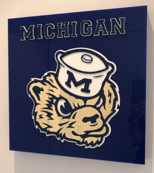 MICHIGAN COLLEGE ACRYLIC ART | 18x18