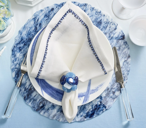 WAVES PLACEMAT | WHITE & NAVY