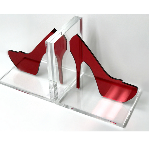 STILETTO HIGH HEEL BOOKENDS | RED MIRROR