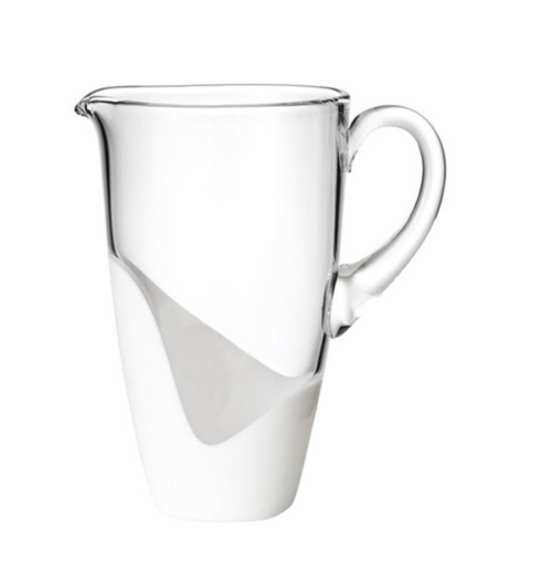 VAGUE GLASS PITCHER | WHITE & CLEAR