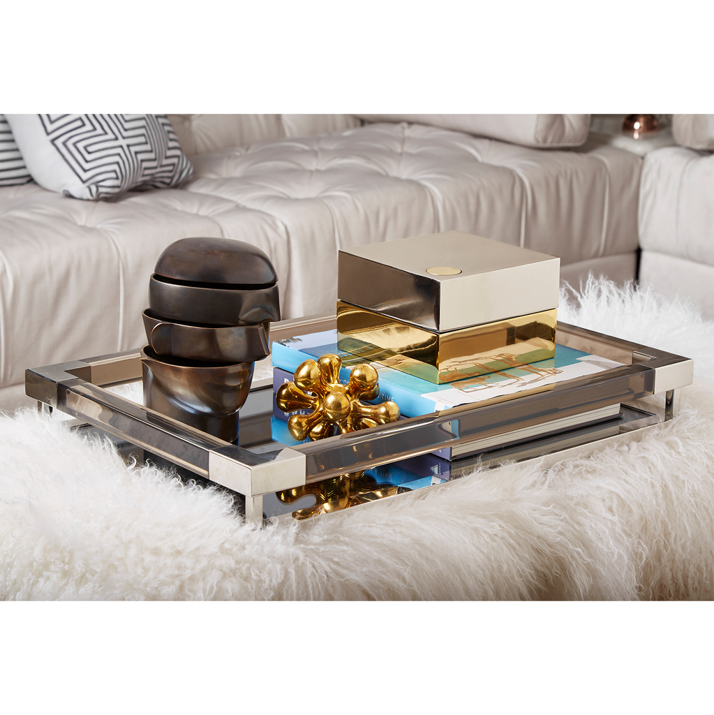LUCITE JACQUES TRAY | NICKEL | LARGE