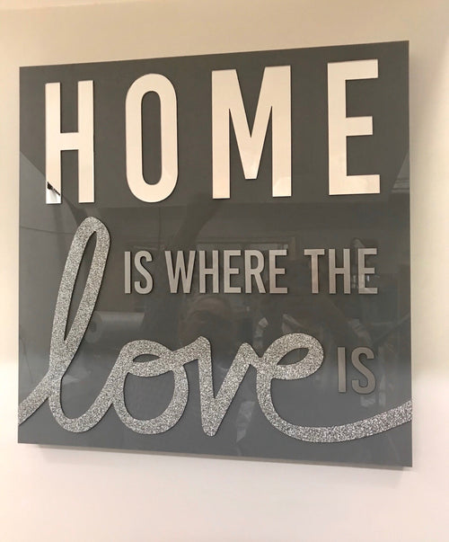 HOME IS WHERE THE LOVE IS ART | GREY & MIRROR | 24 x 24