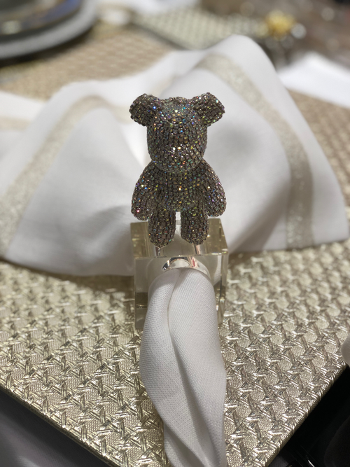 BLING BEAR  NAPKIN RING | CLEAR CRYSTAL