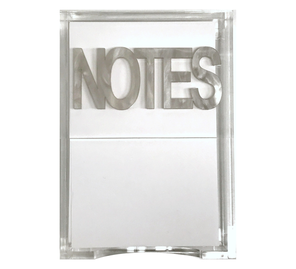 "Silver marble ""notes"" notepad holder - bird eye"