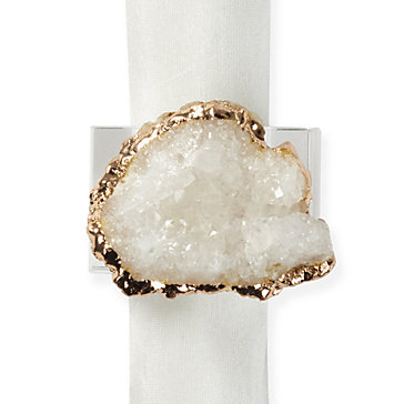 GEODE NAPKIN RING SET | WHITE
