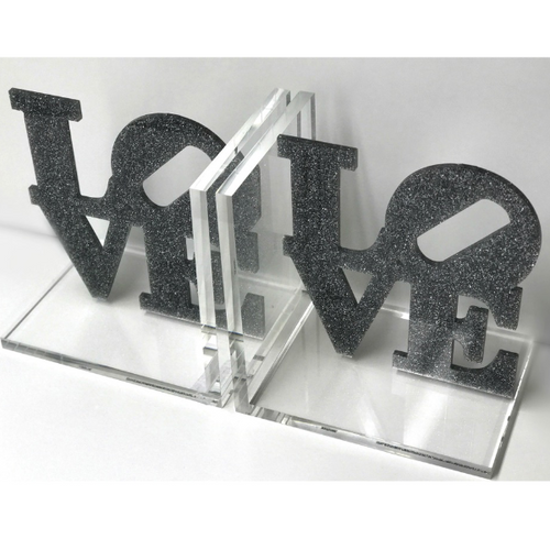 LOVE BOOKENDS | SILVER GLITTER
