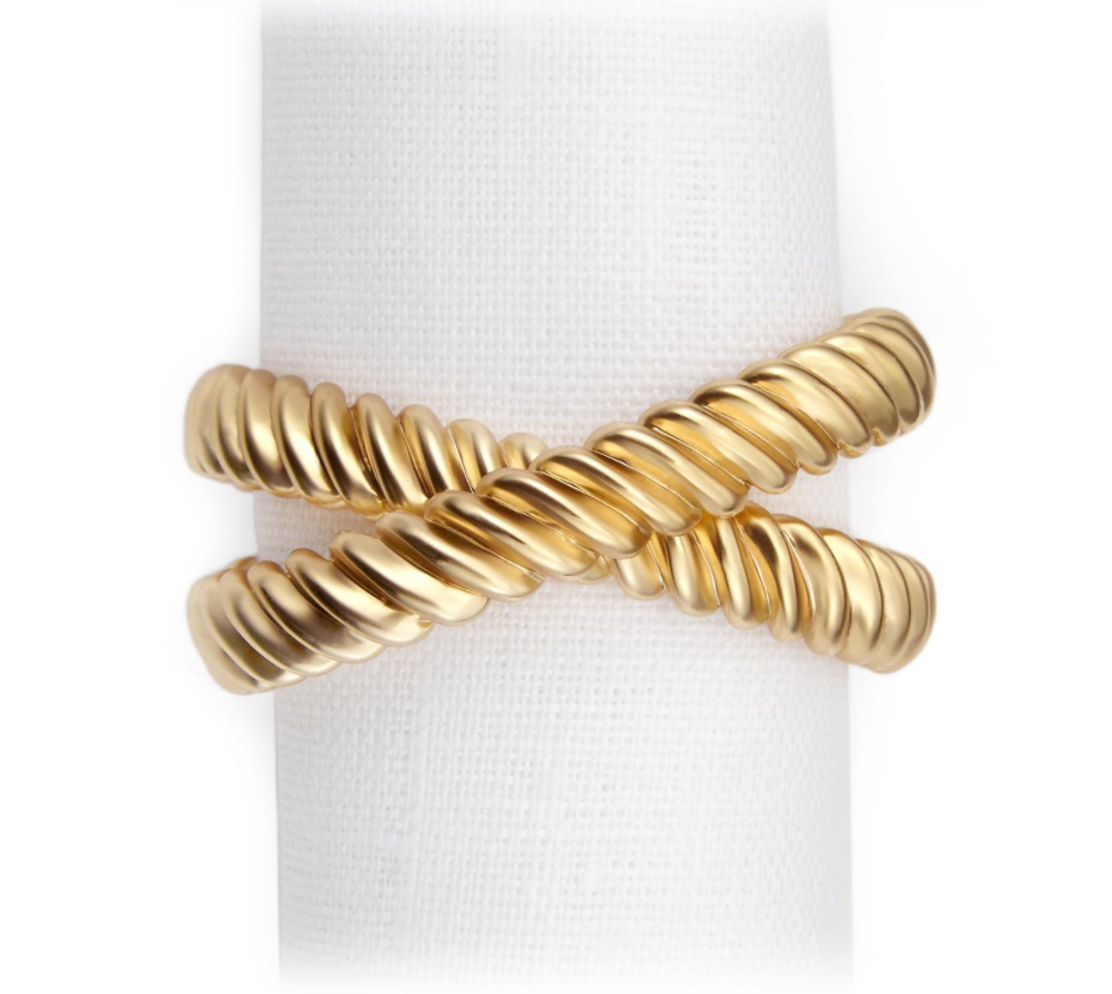 DECO TWIST NAPKIN RING | S/4 | 2 COLORS | L'OBJET