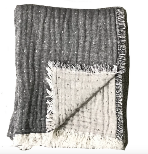 COZI THROW | CHARCOAL & HEATHER GREY