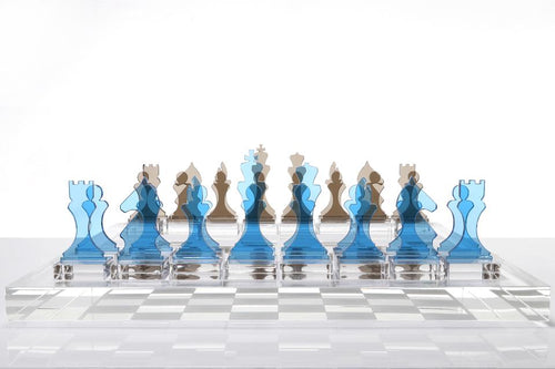 AVF ACRYLIC CHESS SET | LAGOON & SLATE GREY