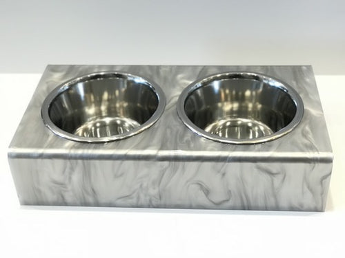 DOG BOWL | SILVER MARBLE