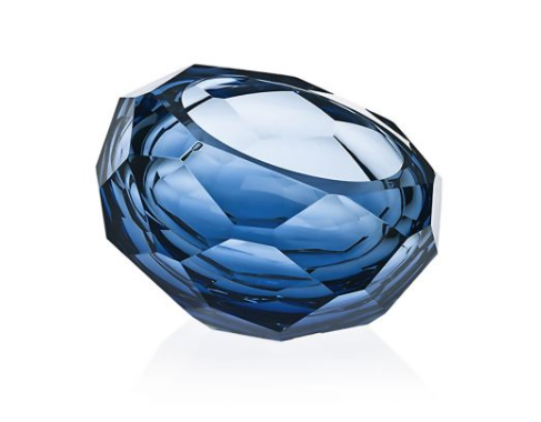 MIPRESHUS CUT GLASS BOWL | MEDIUM | STEEL BLUE